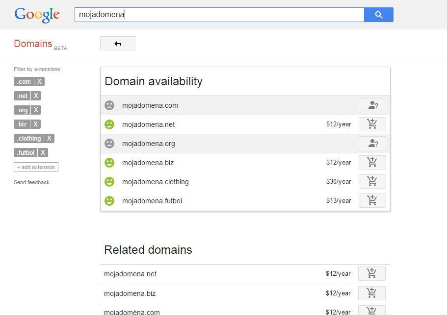 wyszukiwarka domen Google