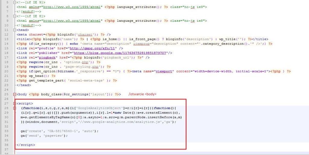 wdrażanie kodu analytics