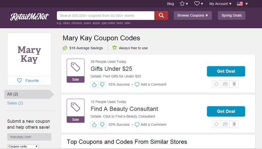 zniżki mary kay - retailmenot.com