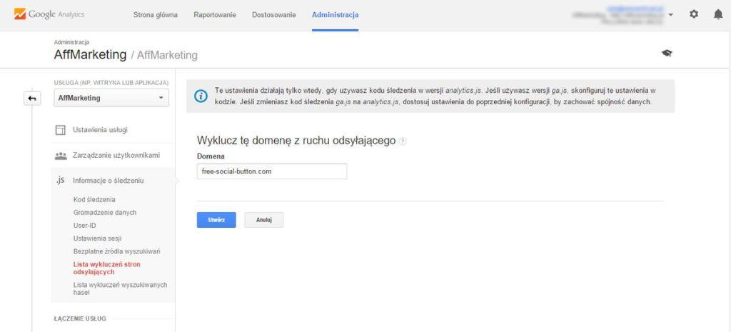 dodajemy wykluczenie domeny