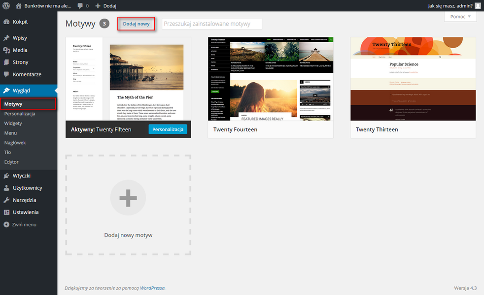 Dodawanie motywu WordPress