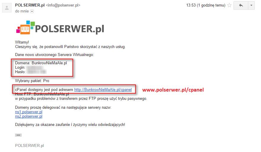 mail z danymi do zakładania bloga/strony