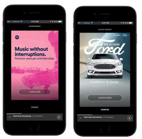 Reklamy Spotify na smartfonach