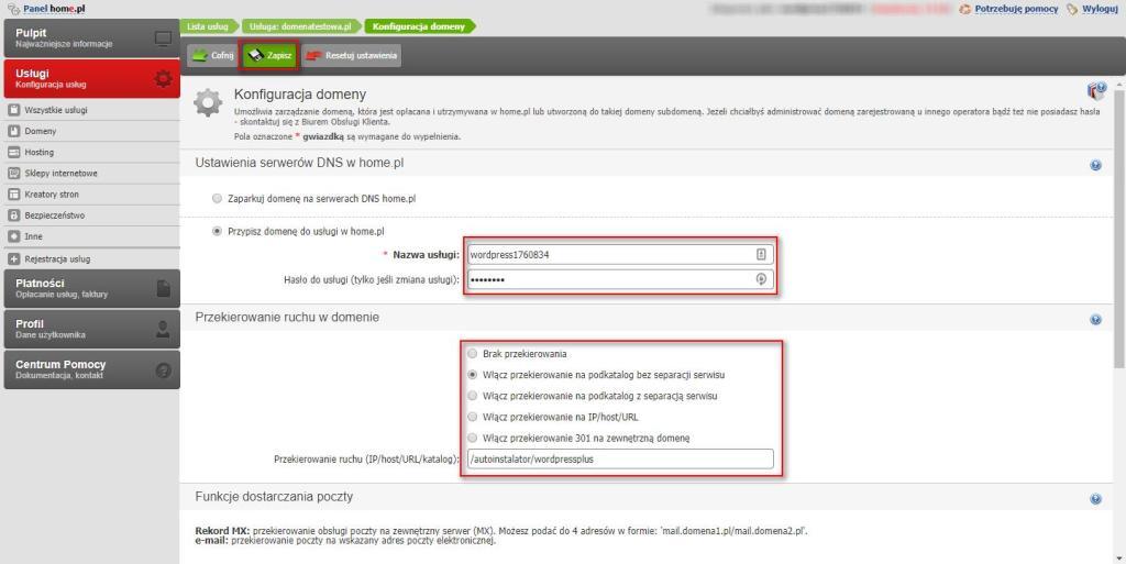 konfiguracja domeny przekierowanie bloga