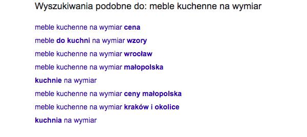 sugestie google dla frazy meble kuchenne na wymiar